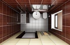 Cuarto de baño moderno con los azulejos marrones. visión superior Fotos de archivo libres de regalías