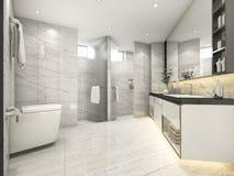 cuarto de baño moderno del vintage de la crema de la representación 3d con la decoración de lujo de la teja ilustración del vector