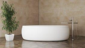 Cuarto de baño moderno mínimo con el entarimado oscuro y un ejemplo de la planta 3D libre illustration