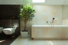 Cuarto de baño moderno minimalista en luz del día Fotografía de archivo libre de regalías