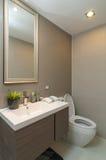 Cuarto de baño o retrete interior de lujo con la luz del gusano Imagenes de archivo