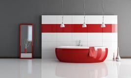 Cuarto de baño rojo y blanco de la manera Fotos de archivo libres de regalías