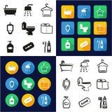 Cuarto de baño todo en los iconos uno negros y el diseño plano del color blanco fijado a pulso Fotos de archivo libres de regalías