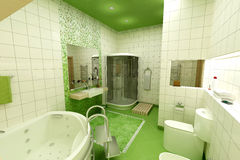 Cuarto de baño verde imagenes de archivo
