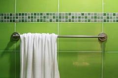 Cuarto de baño verde Imágenes de archivo libres de regalías