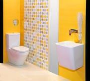 Cuarto de baño amarillo Imágenes de archivo libres de regalías
