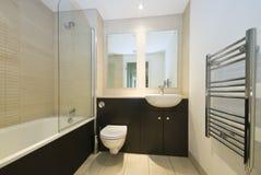 Cuarto de baño moderno de la familia en amarillento y marrón Fotografía de archivo libre de regalías