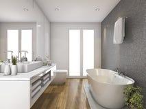 cuarto de baño y retrete de madera de la representación 3d con luz del día de la ventana Imágenes de archivo libres de regalías
