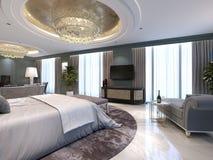 Cuarto de invitados en un nuevo hotel lujoso con el espacio abierto, un dormitorio y un salón de la sala de estar stock de ilustración