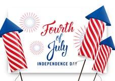 Cuarto de julio Bandera del saludo del Día de la Independencia de los E.E.U.U. La disposición moderna con las letras y los fuegos ilustración del vector
