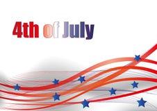 Cuarto de julio Cuarto del ejemplo simple de la celebración de julio Día de la Independencia de los E Libertad de América Imagen de archivo