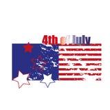 Cuarto de julio Cuarto del ejemplo simple de la celebración de julio Día de la Independencia de los E Libertad de América Foto de archivo libre de regalías