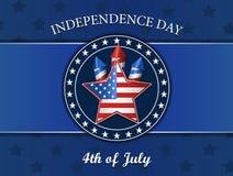Cuarto de julio, Día de la Independencia, estrella, fuegos artificiales, ejemplo del vector, aislado en azul Fotografía de archivo libre de regalías