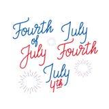 Cuarto de julio Sistema del ` s del logotipo de las letras para el 4 de julio, Día de la Independencia de los E.E.U.U. ilustración del vector