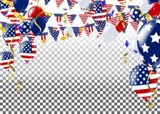 Cuarto de julio 4to de la bandera del día de fiesta de julio Día de la Independencia de los E stock de ilustración