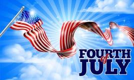 Cuarto de la bandera americana del Día de la Independencia de julio Fotos de archivo libres de regalías