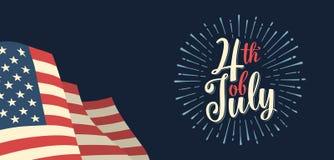 Cuarto de la inscripción de las letras de la mano de julio con el fuego artificial Fondo del grunge de la independencia Day ilustración del vector