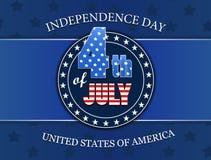 Cuarto de la insignia americana del Día de la Independencia de julio Ilustración del vector Fotografía de archivo