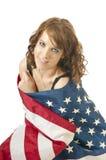 Cuarto de la muchacha patriótica de julio Imagenes de archivo