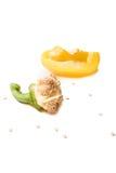 Cuarto de la pimienta amarilla con las semillas Imagen de archivo libre de regalías