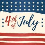 Cuarto de la tarjeta de felicitación del Día de la Independencia de julio los E.E.U.U. 4 de julio papel pintado de la celebración Foto de archivo