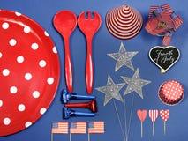 Cuarto de los E.E.U.U. de las decoraciones del partido de julio Imagen de archivo
