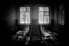 Cuarto de niños abandonado en Chernobyl Imágenes de archivo libres de regalías