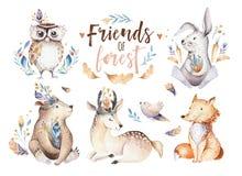 Cuarto de niños bohemio del animal del conejo y del oso de la historieta del bebé de la acuarela linda para la guardería, de los  ilustración del vector