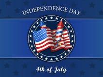Cuarto del Día de la Independencia de julio, bandera, fuegos artificiales, ejemplo del vector aislado en azul Fotografía de archivo