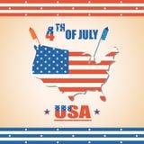 Cuarto del Día de la Independencia del americano de julio Foto de archivo libre de regalías