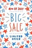 Cuarto del diseño del cartel de la venta de julio Fotos de archivo libres de regalías