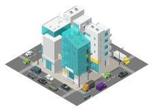 Cuarto del distrito de la calle de la ciudad Ciudad y camino isométricos alrededor Tráfico de coches y edificios 3d Apartamentos  libre illustration