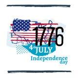 Cuarto del ejemplo de la independencia de julio ilustración del vector