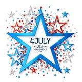 Cuarto del fondo de julio con la estrella Fotos de archivo libres de regalías