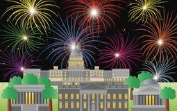 Cuarto del Washington DC de los fuegos artificiales de julio ilustración del vector