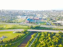 Cuarto distrito de la sala de la visión aérea al oeste de Houston céntrica, Tejas Imagen de archivo
