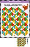 Cuartos y juego colorido del laberinto de las puertas con el gato rojo stock de ilustración
