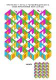 Cuartos y juego del laberinto de las puertas stock de ilustración