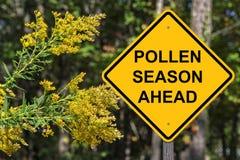 Cuation - Pollen Season Ahead. Caution Sign - Pollen Season Ahead stock photo