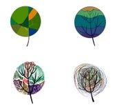 Cuatro árboles coloreados estilizados Fotografía de archivo libre de regalías