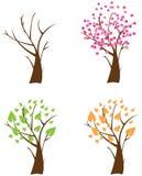 Cuatro árboles de las estaciones Imágenes de archivo libres de regalías