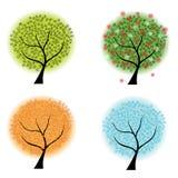 Cuatro árboles de las estaciones Fotos de archivo libres de regalías