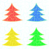 Cuatro árboles del vector de la Navidad Imagenes de archivo