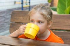 Cuatro-año-muchacha que bebe una bebida que se sienta en la tabla en el mirador Fotografía de archivo