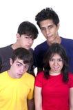 Cuatro adolescencias sorprendidas Fotografía de archivo libre de regalías