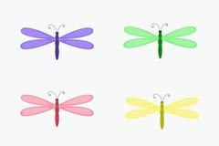Cuatro aislaron la libélula colorida stock de ilustración