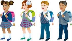 Cuatro alumnos con diverso color de piel Stock de ilustración