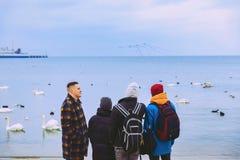 Cuatro amigos caminan a lo largo de la playa y de la mirada en el mar Pájaro Agua travelling foto de archivo libre de regalías