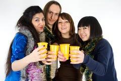 Cuatro amigos felices Foto de archivo libre de regalías