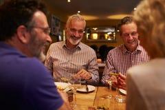 Cuatro amigos que hablan junto durante una comida en un restaurante Fotos de archivo libres de regalías